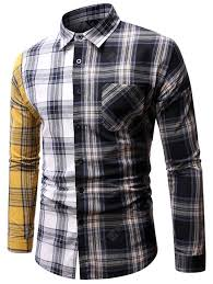 <b>Men's</b> Personality <b>Patchwork</b> Plaid Shirt Multi-<b>B</b> 2XL <b>Men's</b> Shirts ...