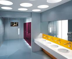 office bathroom design for nifty purple partitions and yellow white basin area trend bathroom office