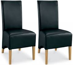 faux leather dining chair black: bentley designs lyon oak dining chair black faux leather wing back pair
