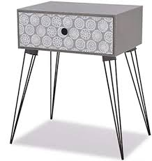 vidaXL <b>Nightstand with 1</b> Drawer Rectangular Grey Bedroom ...