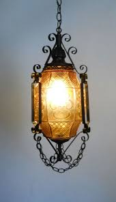 gothic lantern amber art glass and wrought iron swag hanging lamp ceiling fixture art glass lighting fixtures