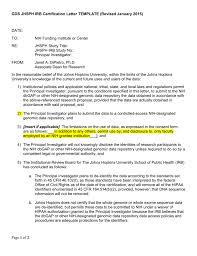 Gwas Gds Jhsph Irb Certification Letter Template Revised