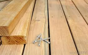 building a wood patio lag screws which have coarse threading and a hexagonal head can be use