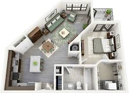 "One "" "" Bedroom Apartment House Plans   Architecture  amp  Design  Uniquely Shaped   Bedroom Apartment"