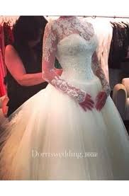 Glamorous <b>High Neck Long</b> Sleeve <b>Tulle</b> Wedding Dress With ...