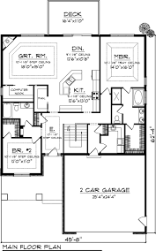 Bedroom House Plans With Garage - Two bedroomed house plans