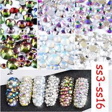 MIOBLET 800pcs Flame Nail Crystal 3D <b>White</b> Clear <b>AB Flatback</b> ...
