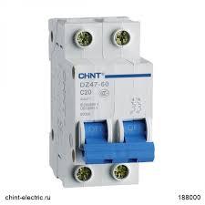 <b>Автоматический выключатель</b> DZ47-60 2Р <b>25А</b> 4.5кА х-ка C (CHINT)