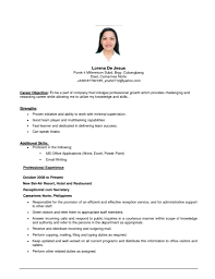 resume template  first job resume objective resume examples    first job resume objective   receptionist experience