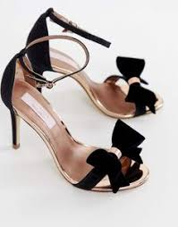 <b>Ted Baker</b> Black Suede Barely There Block Heeled Sandals ...