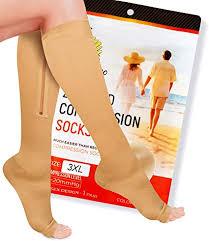 Zipper Compression Socks Pair with Zip Guard Skin ... - Amazon.com