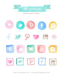 curly made free watercolor social media icons blog restyle basic icons flat icons 1000