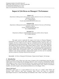 full stress management research paper occupational stress