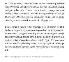 [<b>Mi True Wireless</b> Earbuds Basic]Info produk - Indonesia