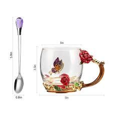 Do4U Teacher Gifts <b>Enamel</b> Flower <b>Glass</b> Mug <b>Lead Free</b> ...