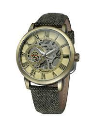 Shop <b>FORSINING Men's Skeleton</b> Dial Canvas Mechanical <b>Watch</b> ...