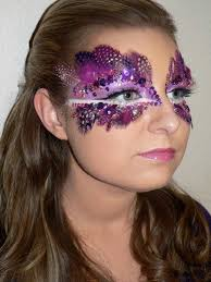 creative purple feather and crystal masquerade make up mask