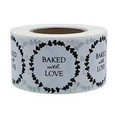 """Hybsk 1.5"""" <b>Inch Round Natural</b> Rustic Baked With Love Stickers ..."""