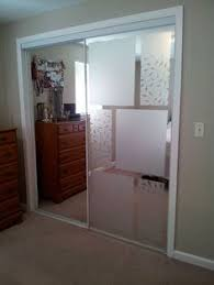 used adhesive free window frosting to cover up mirrored sliding closet doors admirable design mirrored closet door