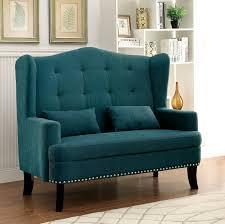 Upholstery Living Room Furniture Furniture Of America Setubal Wing Back Upholstered Love Seat