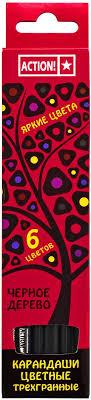 <b>Action</b>! <b>Набор цветных карандашей</b> Черное дерево 6 цветов ...