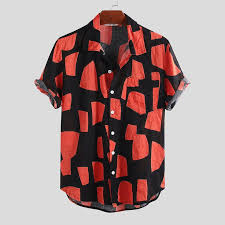 ChArmkpR <b>Mens Summer</b> Hit Color Printing Chest Pocket <b>Turn</b> ...
