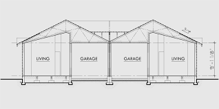 One Story Duplex House Plans  Narrow Duplex Plans  BedroomHouse rear elevation view for D  One story duplex house plans  narrow duplex