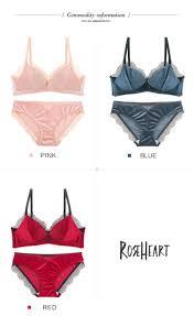 <b>Roseheart</b> Winter <b>Women Fashion Pink</b> Red Wireless Bra Sets Lace ...