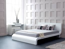 captivating wall design of contemporary bedroom completed by queen bed with elegant platform furnished with desk bed furniture designs