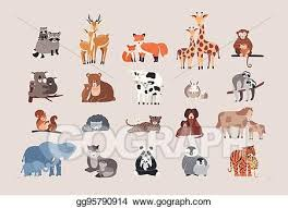Cute animals with babies set. <b>raccoon</b>, <b>deer</b>, <b>fox</b>, <b>giraffe</b>, monkey ...