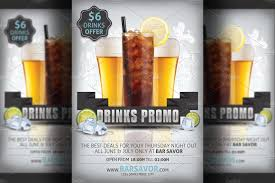 drinks promo flyer template flyer templates on creative market