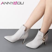 <b>ANNYMOLI</b> Women <b>Boots</b> Ankle <b>Boots</b> Shoes <b>Winter</b> Flower <b>High</b> ...