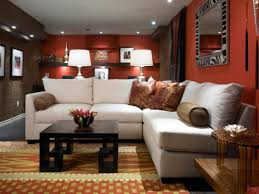 Red Wall Living Room Decorating Furniture Best Carpet For Basement Family Room With Red Wall For