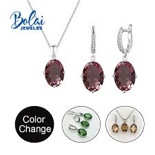 <b>Bolai jewelry</b>,color change <b>zultanite Jewelry</b> set <b>925</b> sterlings silver ...