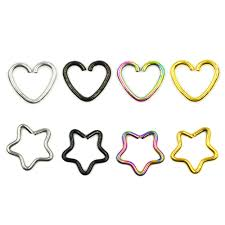 <b>2pc</b> Daith Heart Ring Star Shape <b>Tragus</b> Cartilage Orbital <b>Ear</b> Helix ...