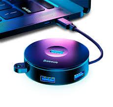 <b>Хаб Baseus</b> Round Box HUB <b>USB</b> 10 см Чёрный