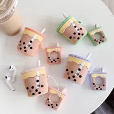Cute <b>Milk Tea Pattern</b> Protective Cover for AirPods Case Bluetooth ...