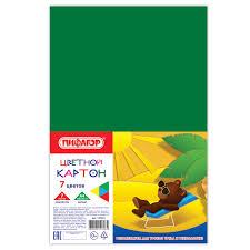 Купить <b>Картон цветной</b> А4 немелованный (матовый), 7 листов 7 ...