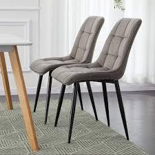 TUKAILAI <b>2PCS</b> Brown Velvet <b>Dining Chairs</b> Soft <b>Seat</b> and Velvet ...