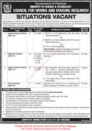 council for works and housing research karachi jobs  council for works and housing research karachi jobs 2016 cwhr civil engineers others latest