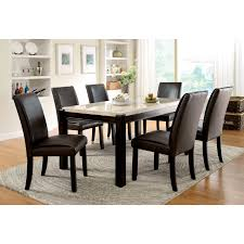 Marble Top Kitchen Table Set Steve Silver 7 Piece Marseille Marble Top Dining Table Set Dark