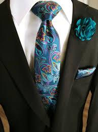 Classic <b>Floral</b> & <b>Paisley Necktie</b> Handkerchief <b>Set</b> Turquoise & Purple