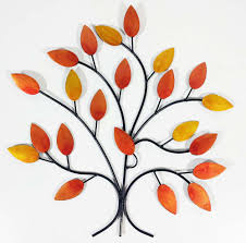 tree scene metal wall art: metal wall art golden autumn tree branch