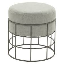patio stool: gray fabric wire cage outdoor accent stool cad a liked on polyvore featuring home outdoors patio furniture outdoor stools gray outdoor furniture