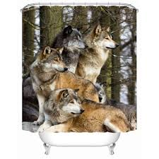 bathroom set wolf bath  new waterproof fabric shower curtain a pack of wolves shower curtains