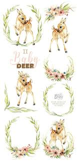 <b>Little Baby Deer</b>. Watercolor animal clipart flowers roe | Etsy in 2020 ...