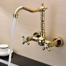 kitchen faucets wall mount: ti pvd finish solid brass wall mount centerset kitchen faucet fg