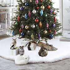 35.4 inch Round Christmas Tree Skirts <b>White Plush</b> Fur Carpet ...