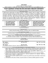 equipment operator resume example sample resume heavy equipment operator
