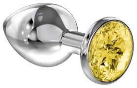 Купить большая серебристая <b>анальная пробка Diamond Yellow</b> ...